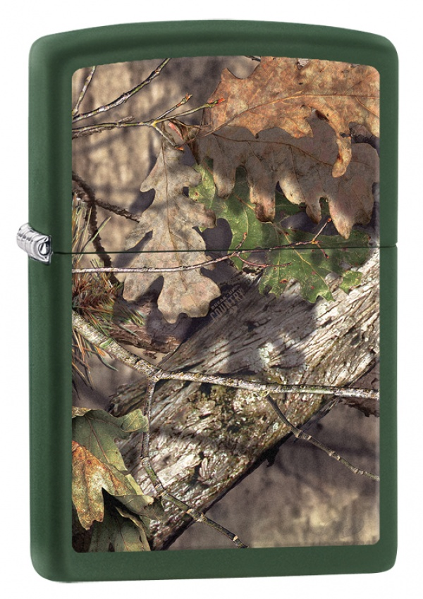 Зажигалка ZIPPO MOSSY OAK® BREAK-UP с покрытием Green Matte, латунь/сталь, зелёная, 36x12x56 мм