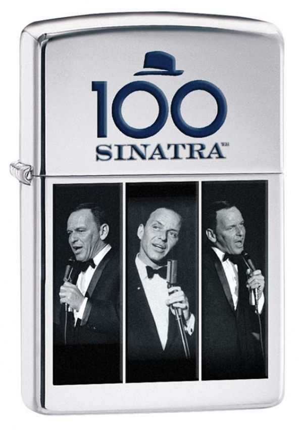 Зажигалка ZIPPO Frank Sinatra с покрытием High Polish Chrome, латунь/сталь, серебристая, 36x12x56 мм