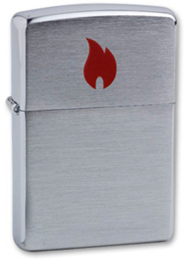 Зажигалка ZIPPO Red Flame, с покрытием Brushed Chrome, латунь/сталь, серебристая, 36x12x56 мм
