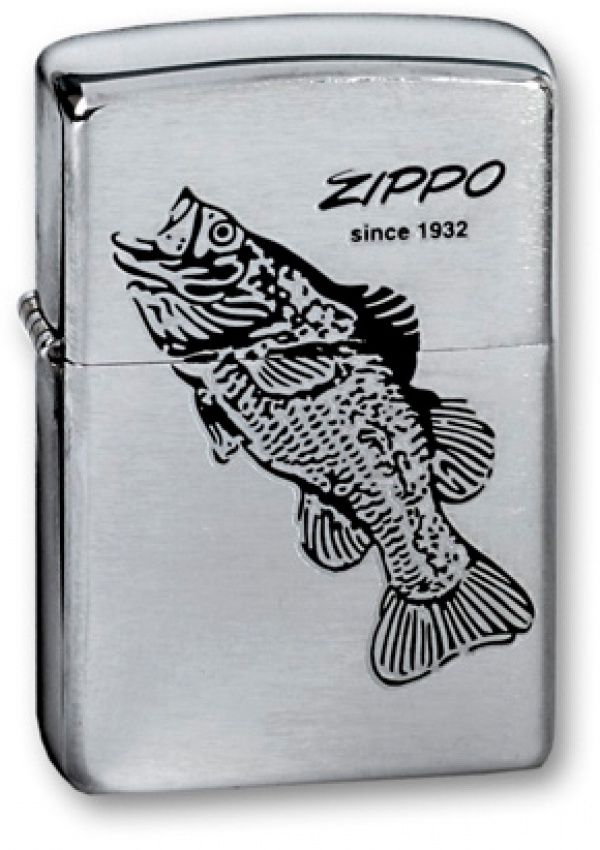 Зажигалка ZIPPO Black Bass, с покрытием Brushed Chrome, латунь/сталь, серебристая, 36x12x56 мм