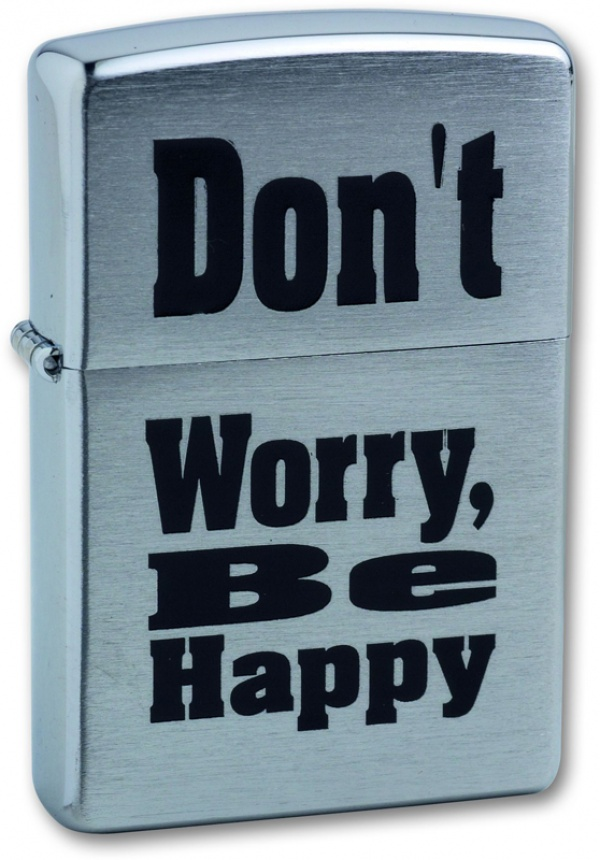 Зажигалка ZIPPO Don`t Worry, с покрытием Brushed Chrome, латунь/сталь, серебристая, 36x12x56 мм