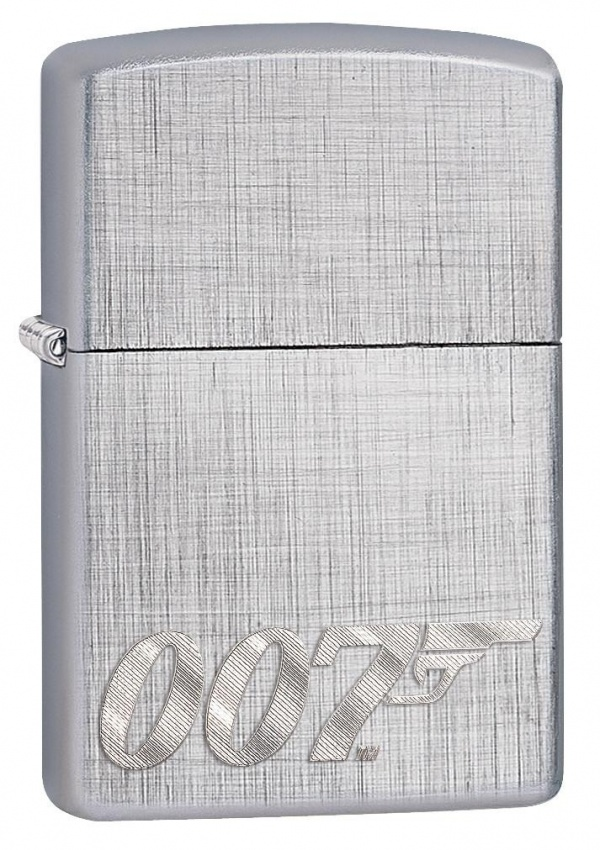 Зажигалка ZIPPO James Bond с покрытием Brushed Chrome, латунь/сталь, серебристая, 36x12x56 мм
