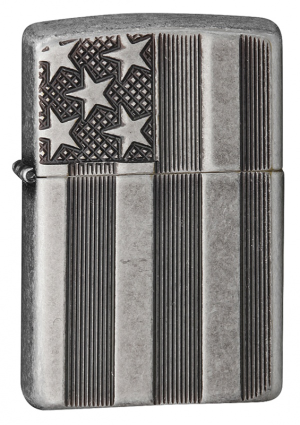 Зажигалка ZIPPO Armor™ с покрытием Antique Silver Plate™, латунь/сталь, серая, матовая, 37х13x58 мм