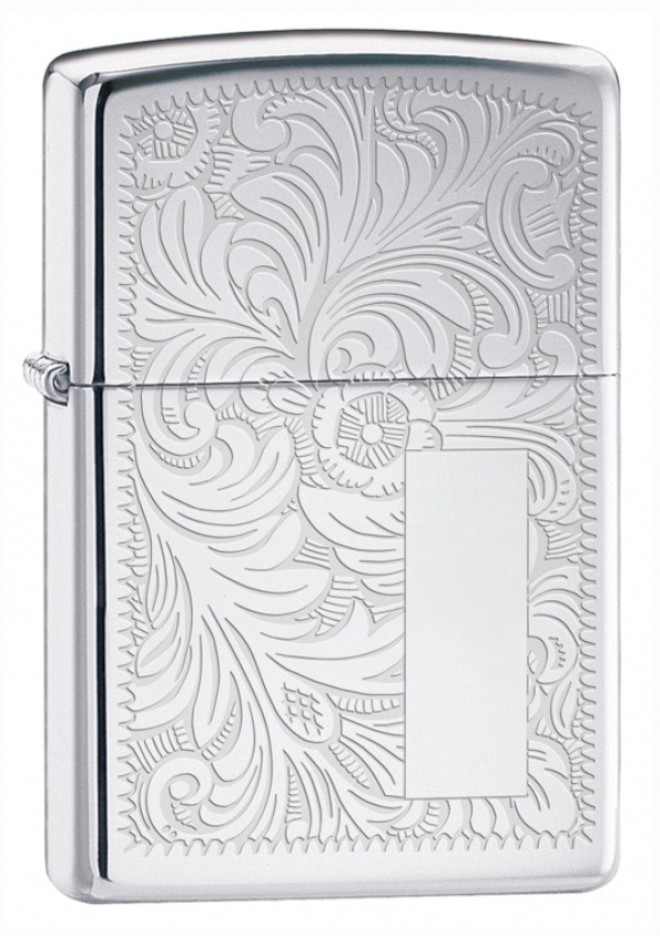 Зажигалка ZIPPO Venetian® с покрытием High Polish Chrome, латунь/сталь, серебристая, 36x12x56 мм