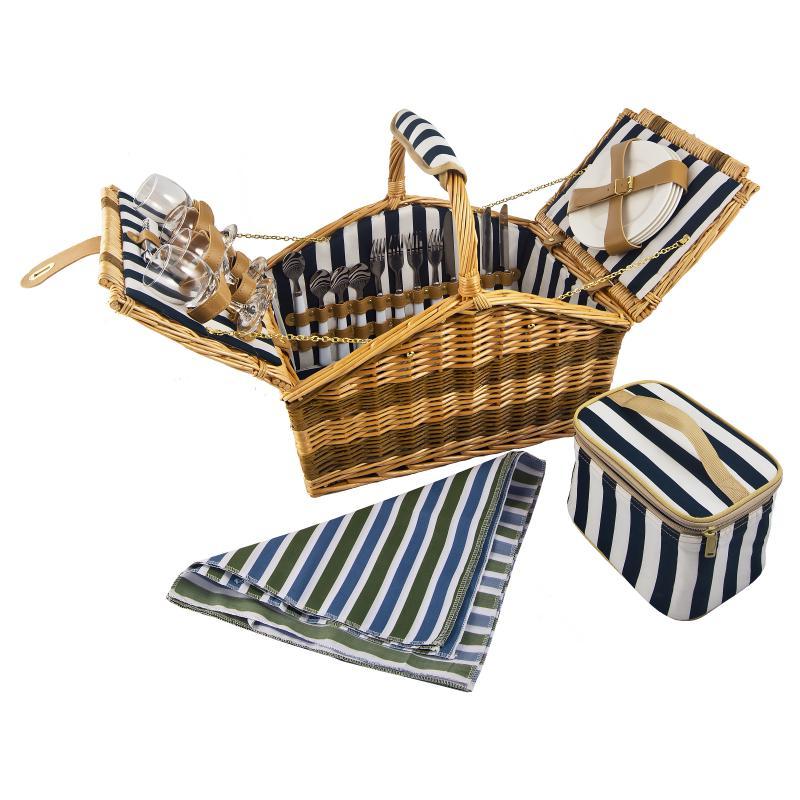 Набор корзина для пикника на 4 персоны 43*44*28см