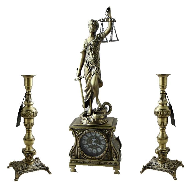 """Каминные часы """"Фемида"""" 52*16 см., с канделябрами """"Джустиса"""" 34*13 см."""